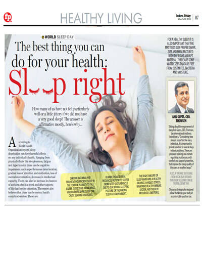 Sleep Right First Print Indore Edition Dated 15th March 2019